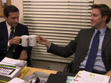 "A toast to gin in ""World's Best Boss"" mugs, which is awesome."